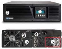 ...USB и последовательный порты, контактный порт, EPO 4. разъем для подключения ВБМ 5. сегменты нагрузки 6. слот...